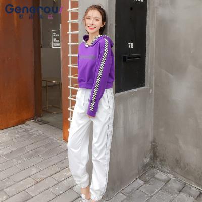 歌诺瑞丝 2018年秋冬卫衣休闲运动装韩版时尚小清新紫色休闲原宿风两件套 GT 4F 466-C-8089