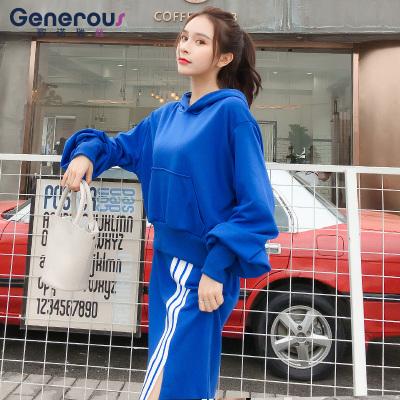 歌诺瑞丝 2018年秋冬新款韩版时尚运动套装女连帽卫衣宽松休闲半身裙两件套 GT 4F 466-C-8901
