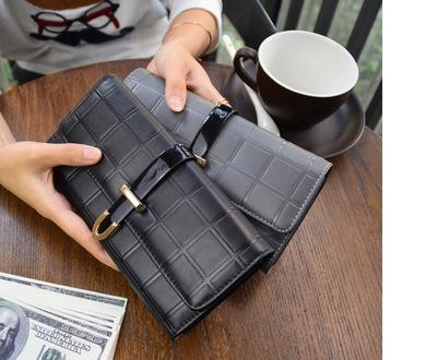 2018新款夏潮流牛皮格子女士真皮三折长款钱包 女士手拿超薄钱夹