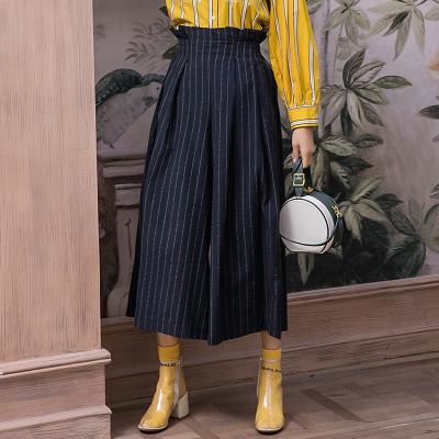 MISS POCA 棉麻条纹喇叭裤 FH7005