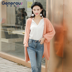 歌诺瑞丝 2018年开衫毛衣外套新款韩版包芯纱中长款外搭纯色百搭淑女上衣 BR 1F A1016-C-6716