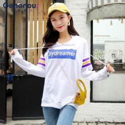 歌诺瑞丝 2018年秋季新款韩版上衣拼色单件蝙蝠袖棉连帽宽松长袖套头卫衣女 BR 1F A1016-C-6718