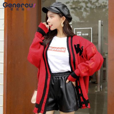 歌诺瑞丝 2018年新款拼色长袖宽松显瘦针织衫韩版字母卡通外套 BR 1F A1016-C-6720
