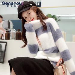 歌诺瑞丝 2018年新款拼色长袖宽松显瘦针织衫套头 BR 1F A1016-C-6723