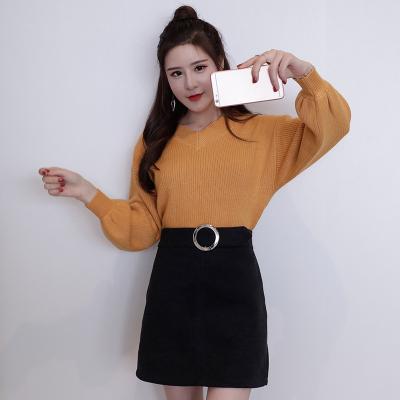 女人志 2018秋冬韩版新款时尚套装V领纯色长袖针织毛衣修身口袋短裙二件套 8078