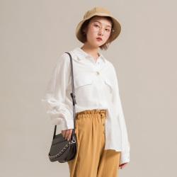 晴舒 2019年春夏新款 韩版一粒扣装饰休闲长袖衬衫女