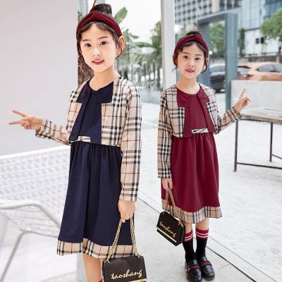 格子马甲女童连衣裙套装两件套
