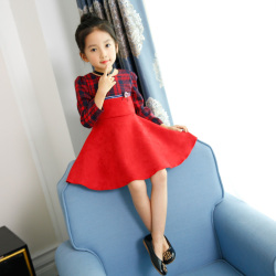 格子淑女女童连衣裙