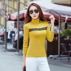 布桂坊 高领打底衫女长袖t恤 923