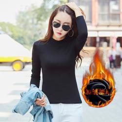 布桂坊 纯色修身女长袖t恤小衫 959