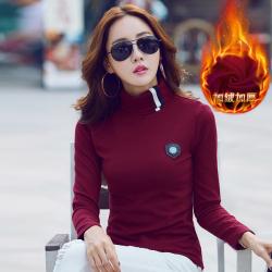 布桂坊 加绒加厚高领打底衫t恤 919