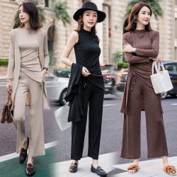 2018女修身显瘦气质三件套时尚秋装长袖新款女装阔腿裤套装760#