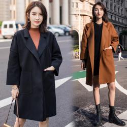 大衣女中长款韩版秋季2018新款毛呢呢子外套秋冬装港风复古bf森系