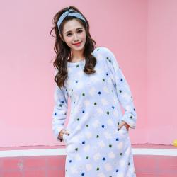 三裕服饰 法兰绒加厚保暖睡衣睡裙 蓝色爪印 180303#