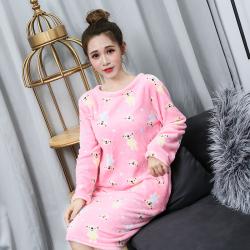 三裕服饰 法兰绒加厚保暖睡衣睡裙 粉色小熊 180304#