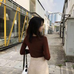 韩版V领长袖打底衫女2018秋季新款修身弹力紧身打底针织衫女套头(MY1805)