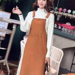 女人志 减龄口袋装饰竖纹显瘦背带裙  8048