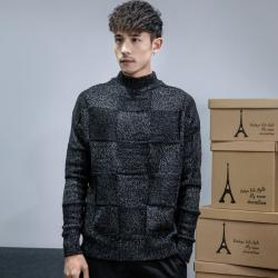 昊社 2018年新款冬季毛衣男韩版潮流宽松拼色男士长袖毛衣 M801