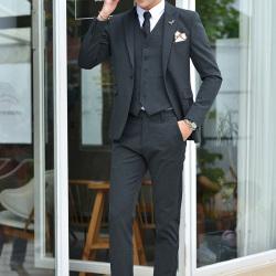 变身 乱麻纯色纹修身休闲商务两穿男士礼服西装 A512