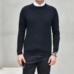 变身 秋冬款针织衫男毛衣韩版潮流个性帅气套头圆领长袖线衣 1914