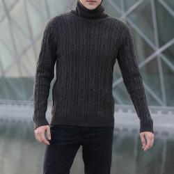 变身 秋冬男士毛衣韩版宽松针织衫可翻高领圆领外套加厚打底衫 1916