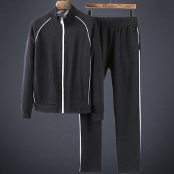 堡络帝 2018年轻奢时尚撞色条高端定制面料男士休闲运动卫衣套装