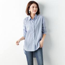 2019中长款BOYF'风气质条纹衬衫 766