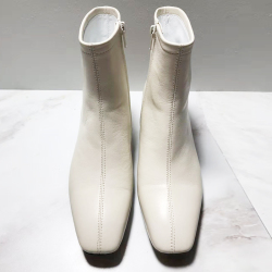 凯雅富尊 方头白色牛皮短靴 836