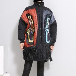 露拉 2018大码女装冬季新款钉珠流苏宽松棉服外套女3002