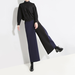 露拉 Stella2018秋冬新款休闲港风潮流拼接西装裤高腰直筒九分裤子7223