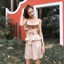 XY晓创服饰 2019新款轻奢礼服裙两件套 18SSLYQ014C