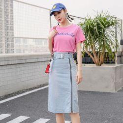 米兰圣 2019新款时尚半身裙春季拉链牛仔裙 O18