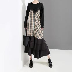 露拉 长袖连衣裙春装2019新款韩版女装拼接格子裙荷叶边裙子4667