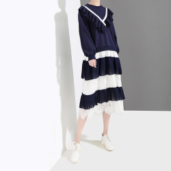 露拉 长袖连衣裙2019春季新款韩版女装 蕾丝蛋糕裙雪纺百褶裙子4668