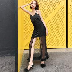 XY晓创服饰 2019新款缎面吊带+长款蕾丝腰封裙 18SSLYQ015B&18SSBQ014B