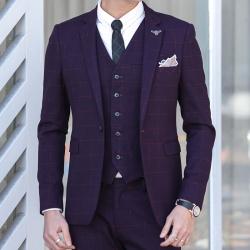 变身 格子休闲商务礼服西装外套 A18
