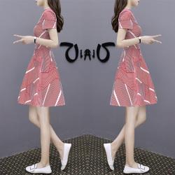 misu 新款女装ins超火a字裙气质条纹V领雪纺连衣裙女 621