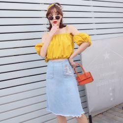 米兰圣 新款时尚个性牛仔半身裙 O16