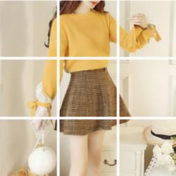 时尚套装女秋韩版小清新两件套毛衣毛呢短裙半身裙套装女