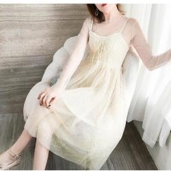 布桂坊 烫金网纱上衣+吊带连衣裙两件套 3216