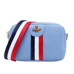 宽肩带小包女2019新款时尚女包织带撞色包蜜蜂五金小包枕头小包包  XB011