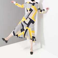 露拉 2019春季新款条纹印花显瘦沙滩裙中长款鱼尾裙 4841