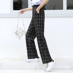 2019年 新款阔腿裤时尚格子显瘦长裤女   417-G-6669