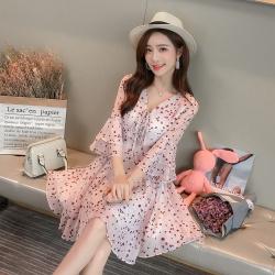 2019年新款 韩版连衣裙气质仙女裙女五分袖   353-266
