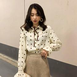 2019年新款 波点气质雪纺淑女衬衫荷花袖女 538-B-F6290