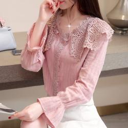 2019年新款 气质淑女荷花袖女式衬衫蕾丝领 449-A2-6068