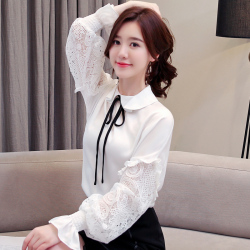 2019年新款 气质淑女娃娃领荷花袖衬衫女 462-B-3088