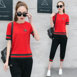 夏季2019新款时尚运动休闲套装女韩版短袖学生跑步运动服两件套潮
