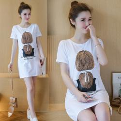 夏季新款女装韩版连衣裙印花女中长款短袖t恤100176063