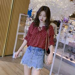 2019夏季新款女洋气气质雪纺衫显瘦碎花小衫女衬衣E-877#